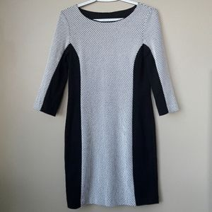 Banana Republic 3/4 Sleeve Dress Black & White